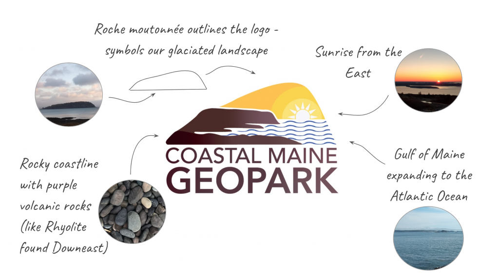 Logo with the words Coastal Maine Geopark with a brown rocky coastline, brown roche mountennee outline, blue waves, and yellow sun above